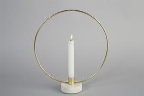 Ljusstake Ring 30cm - Guld/marmor