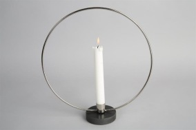 Ljusstake Ring 30cm - Silver/Svart marmor