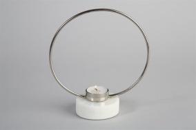 Ljusstake Ring H20cm - Silver/marmor