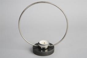 Ljusstake Ring H20cm - Silver/svart marmor