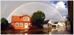 Regnbåge över Köpmansgatan Båstad 21x10 cm