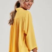 Blus med plisserad rygg gul