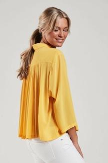 Blus med plisserad rygg gul - Blus med plisserad rygg gul S