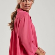 Blus med plisserad rygg rosa