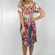 ROSE DRESS FUCHSIA/DEEP BLUE/CREME