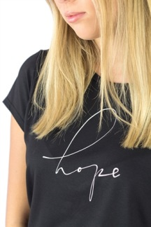 HOPE TEE BLACK/CREME - HOPE TEE BLACK/CREME XS