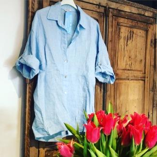 Linneskjorta blå & vit - Linneskjorta blå onesize