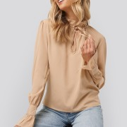 High Neck Frill Blouse