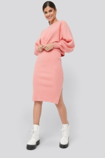 Rib Knitted Skirt pink - Rib Knitted Skirt S
