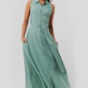 Belted Sleeveless Midi Dress green
