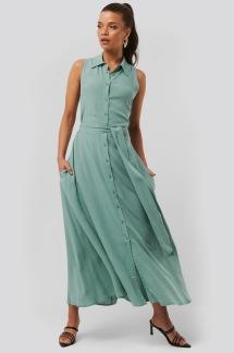 Belted Sleeveless Midi Dress green - Belted Sleeveless Dress 34