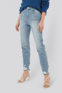 Distressed Hem Mom Jeans - Distressed Hem Mom Jeans 36