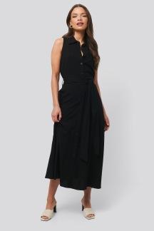 Belted Sleeveless Midi Dress black - Belted Sleeveless Dress 34