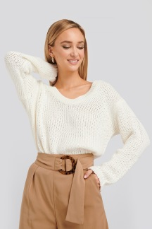 Open Back Knitted Sweater - Open Back Knitted Sweater M