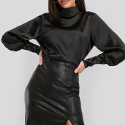 High Collar Satin Blouse