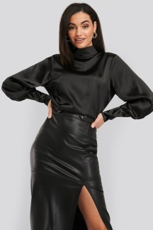 High Collar Satin Blouse - High Collar Satin Blouse 38