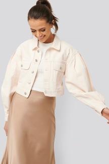 Puff Sleeve Oversized Denim Jacket - Puff Sleeve Oversized  34