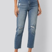 high waist straight destroyed jeans
