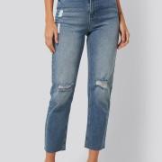high waist straight destroyed jeans