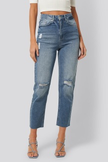 high waist straight destroyed jeans - high waist straight 34