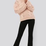 Front Slit Jersey Pants svart