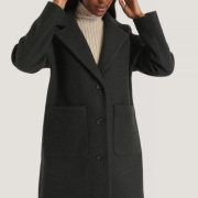 Wool Blend Dropped Shoulder Coat