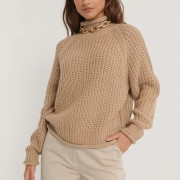 Raglan sleeve high neck beige