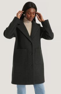 Wool Blend Dropped Shoulder Coat - Wool Blend Dropped  34