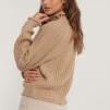 Raglan sleeve high neck beige