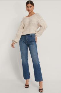 Ekologiska Raka Jeans Med Hög Midja Och Rå Fåll - Raka Jeans 34
