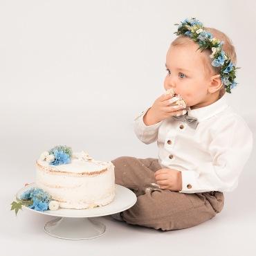 smash the cake med blått tem