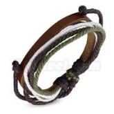 Armband grön justerbart, brunt  läder