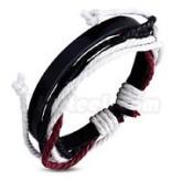 Armband röd, justerbart, svart läder
