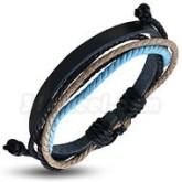 Armband ljusblå/svart, justerbart, svart läder