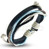 Armband, ljusblå, justerbart, svart läder