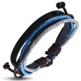 Armband blå/brun, justerbart, svart läder