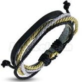 Armband grå/beige, justerbart, svart läder