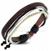 Armband ljusblå/svart, justerbart, brun läder
