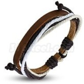Armband vit/svart, justerbart, brunt läder