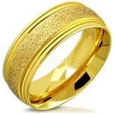 Ring Guldpläterad sandblästrad rostfritt stål