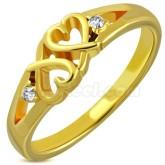 Ring Guldfärgad dubbla hjärtan rostfritt stål
