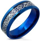 Ring keltiskt drakmönster rostfritt stål