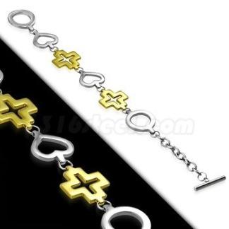 Armband Hjärta och Kors 2-tone rostfritt Stål