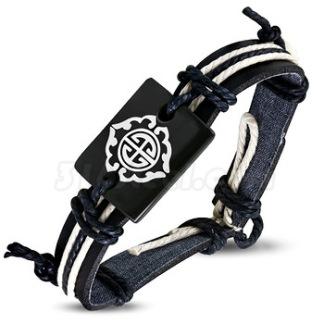 Armband Fashion Rope med svart Läder