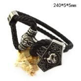 Armband läder, Tors Hammare rostfritt stål