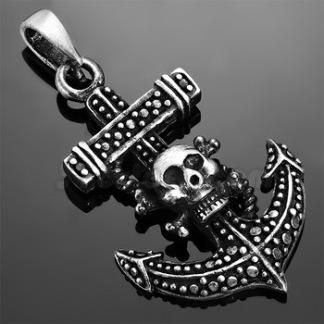 Hänge Piratkors med Döskalle/Ankare 2-tone Tenn