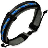 Armband Blå/Gul tvinnat rep, Svart läder