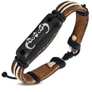 Armband Rep Bone Bullhead brunt Läder