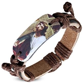Armband Jesus Christ, Brunt Läder