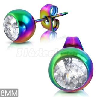 Örhänge Rainbow med CZ Rostfritt Stål